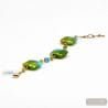 GREEN MURANO GLASS BRACELET OF VENICE QUADRIFOGLIO