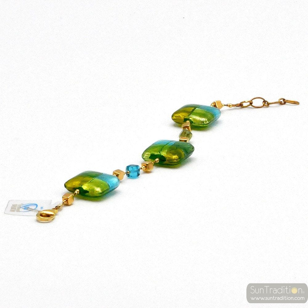 GREEN MURANO GLASS BRACELET OF VENICE QUADRIFOGLIO