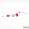 JO- JO PINK AND SILVER BRACELET TRUE MURANO GLASS VENICE