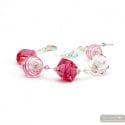 Jo - jo pink and silver real Murano glass bracelet from Venice Italy