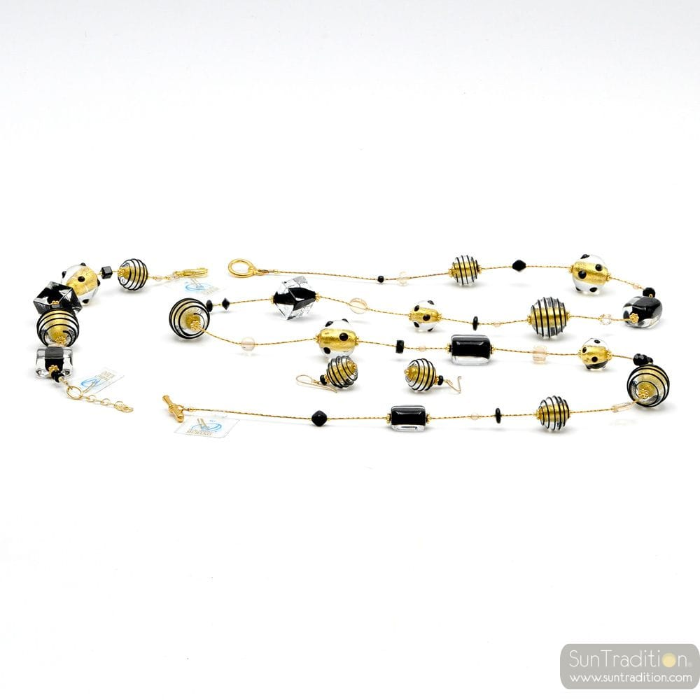 JO- JO BLACK AND GOLD SET IN REAL VERRRE MURANO VENICE