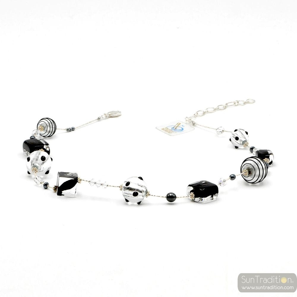 Jo-jo silver and black - Silver and black Murano glass necklace real venitian jewel of Italy