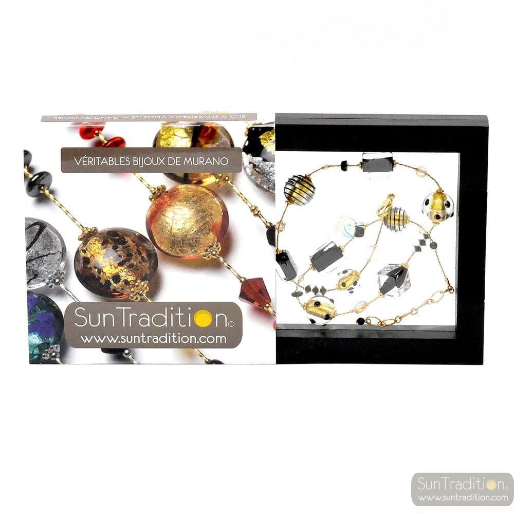 JO-JO BLACK AND GOLD NECKLACE JEWELLERY GENUINE MURANO GLASS OF VENICE