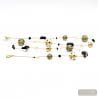 JO- JO BLACK AND GOLD LONG NECKLACE GENUINE MURANO GLASS