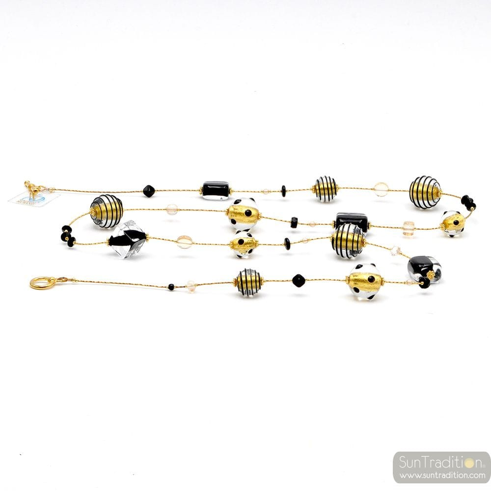 BLACK AND GOLD MURANO GLASS NECKLACE LONG GENUINE MURANO GLASS