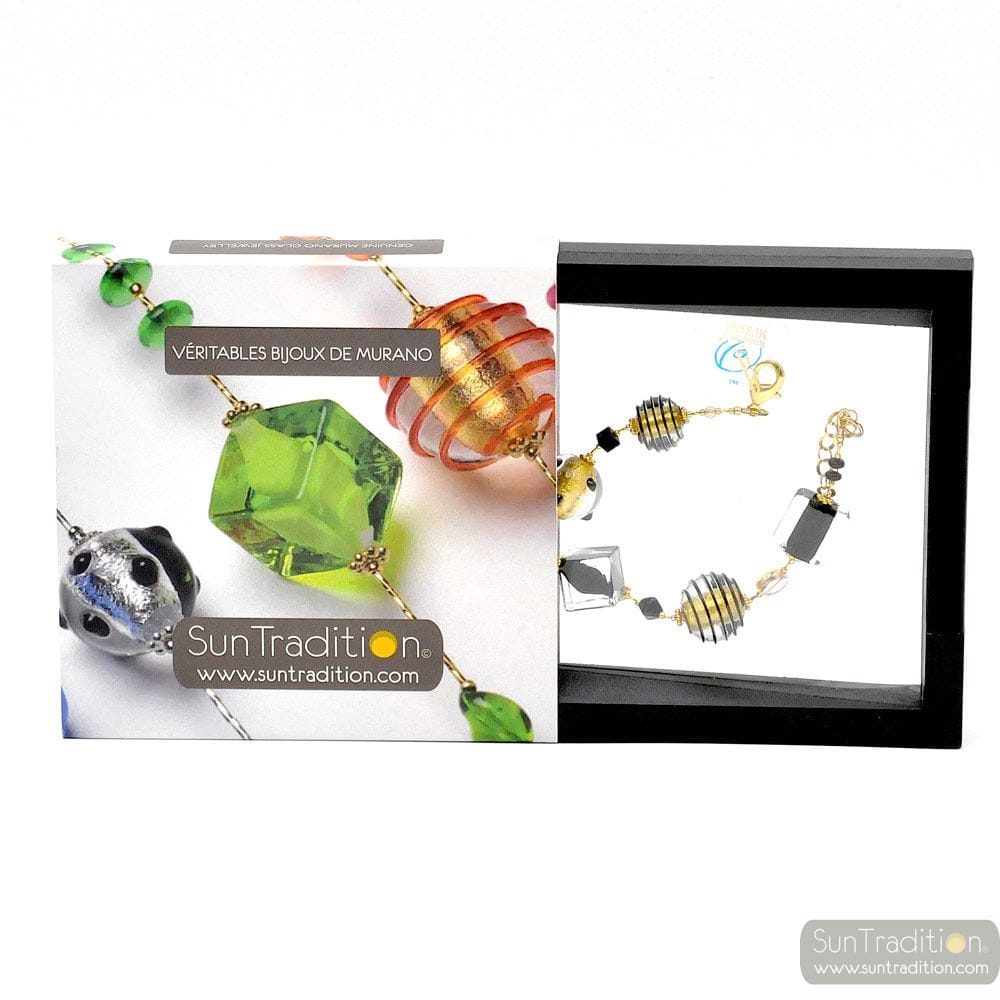 JO- JO BLACK AND GOLD BRACELET GENUINE MURANO GLASS VENICE
