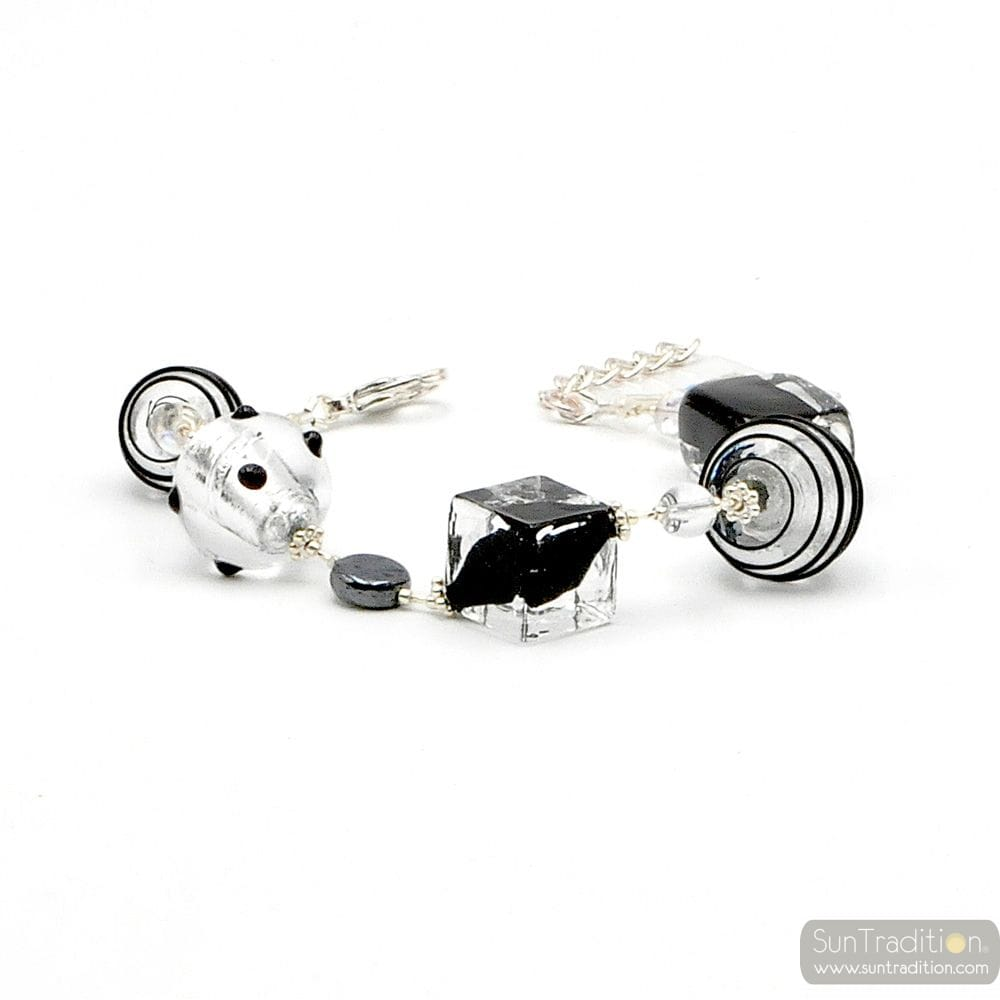 JOJO BLACK AND SILVER - BLACK AND SILVER MURANO GLASS BRACELET