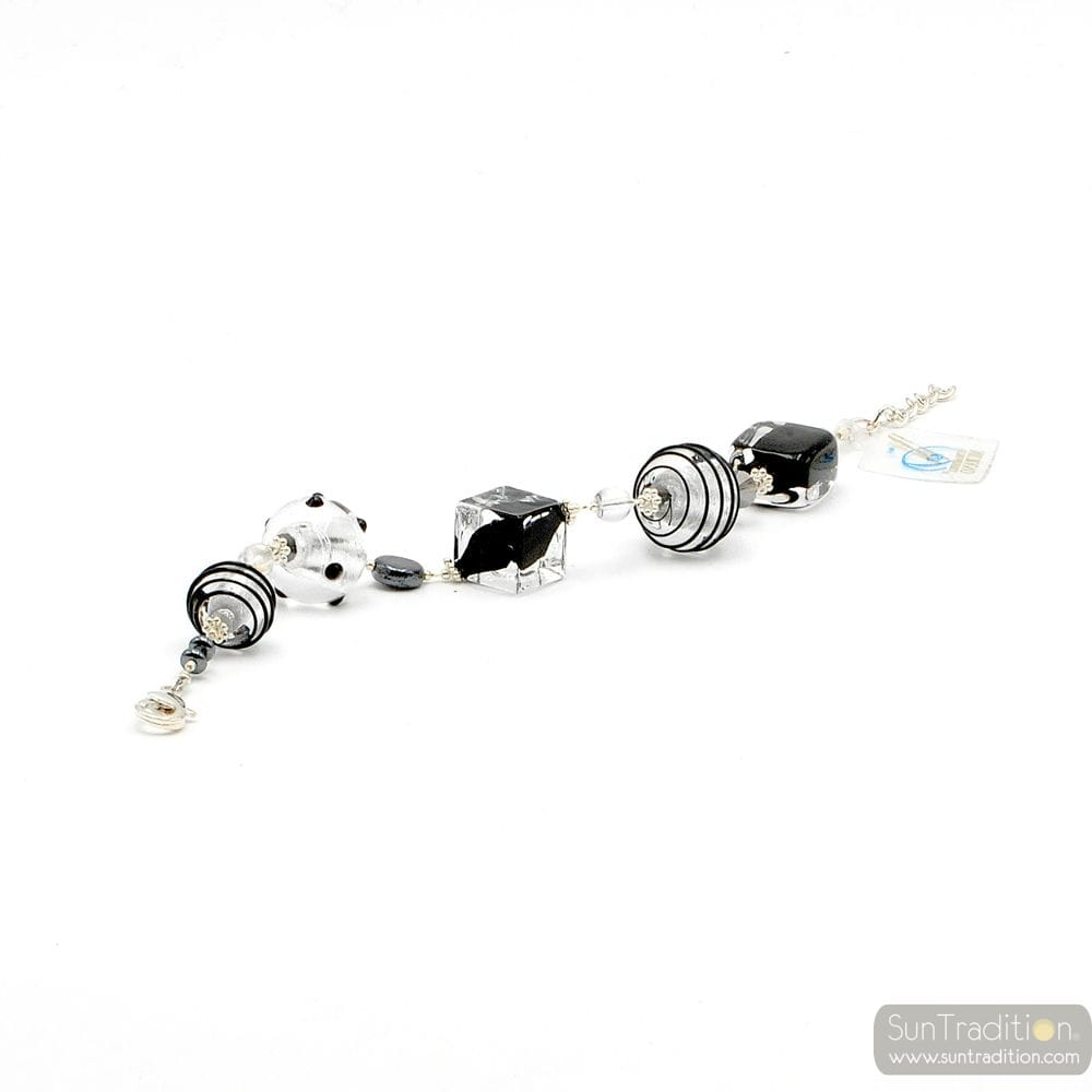 BLACK AND SILVER MURANO GLASS BRACELET GENUINE MURANO GLASS VENICE
