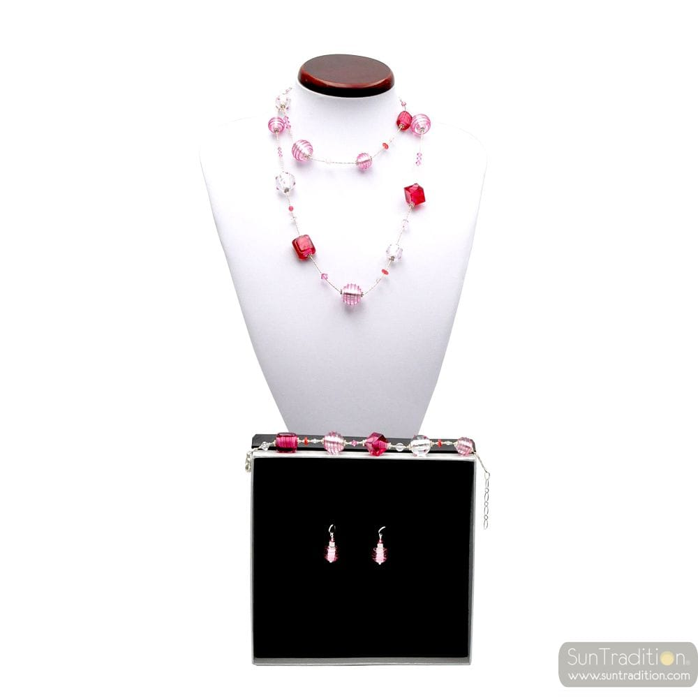 JOJO PINK AND SILVER LONG - PINK MURANO GLASS JEWELLERY SET IN REAL VENITIAN GLASS
