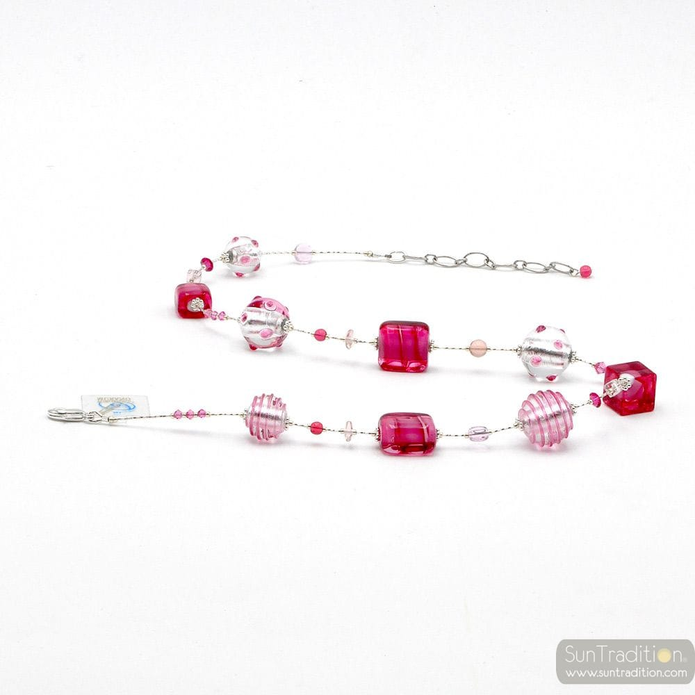 PINK AND SILVER MURANO GLASS NECKLACE WITH GENUINE MURANO GLASS