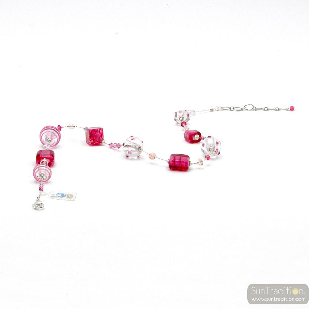 JO-JO PINK AND SILVER NECKLACE WITH GENUINE MURANO GLASS