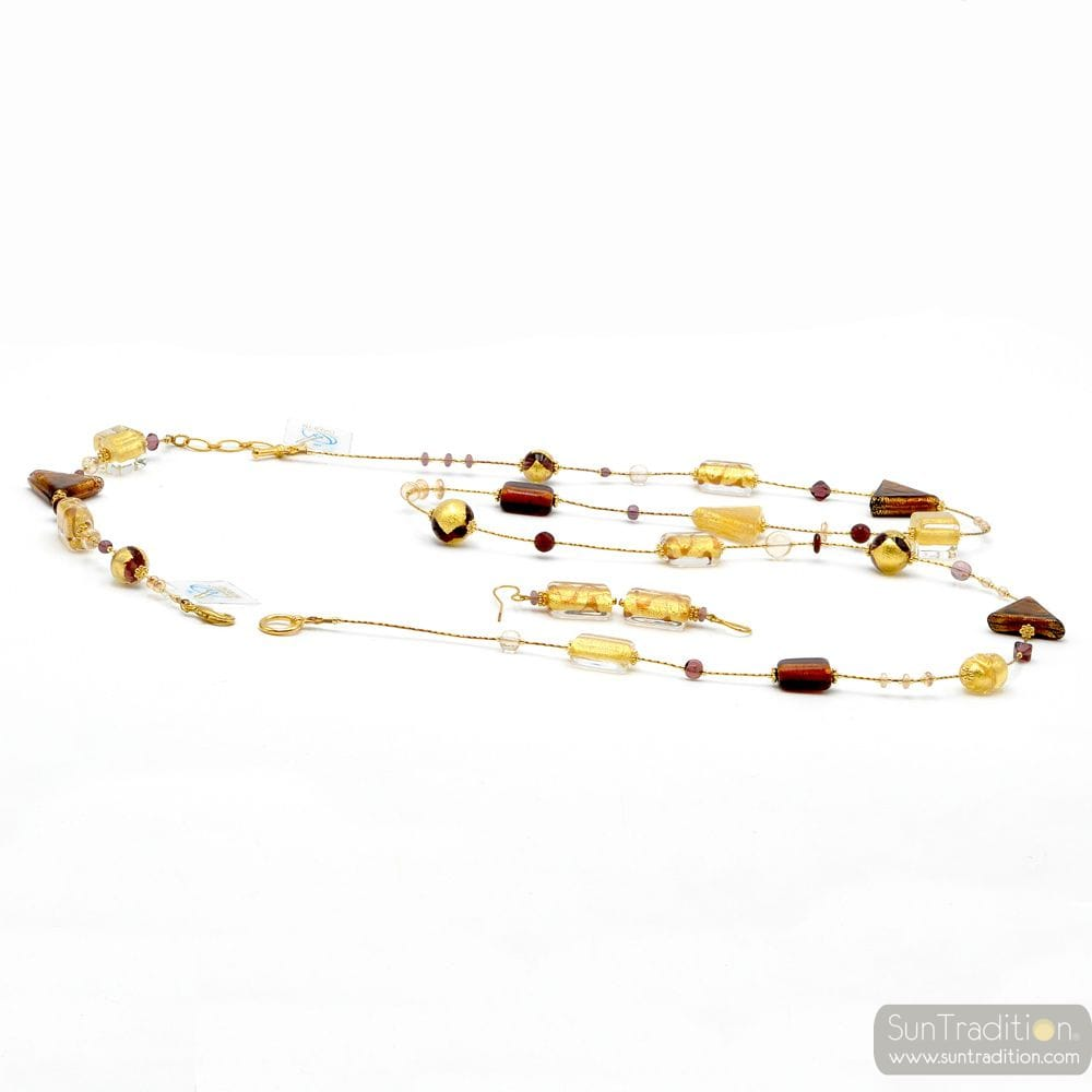 ASTEROIDE AMBER - LONG GOLD NECKLACE IN GENUINE MURANO JEWELLRY SET