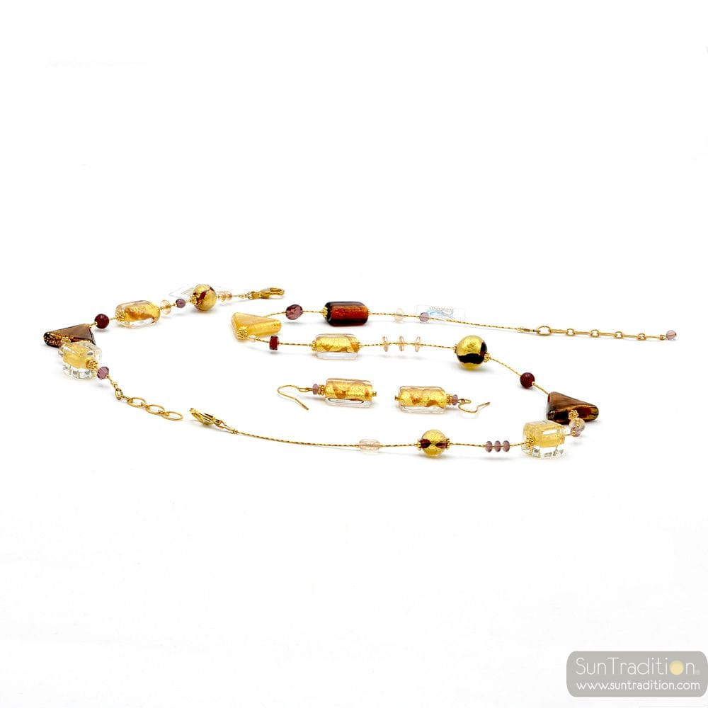 ASTEROIDE AMBER GOLD JEWELRY SET GENUINE MURANO GLASS