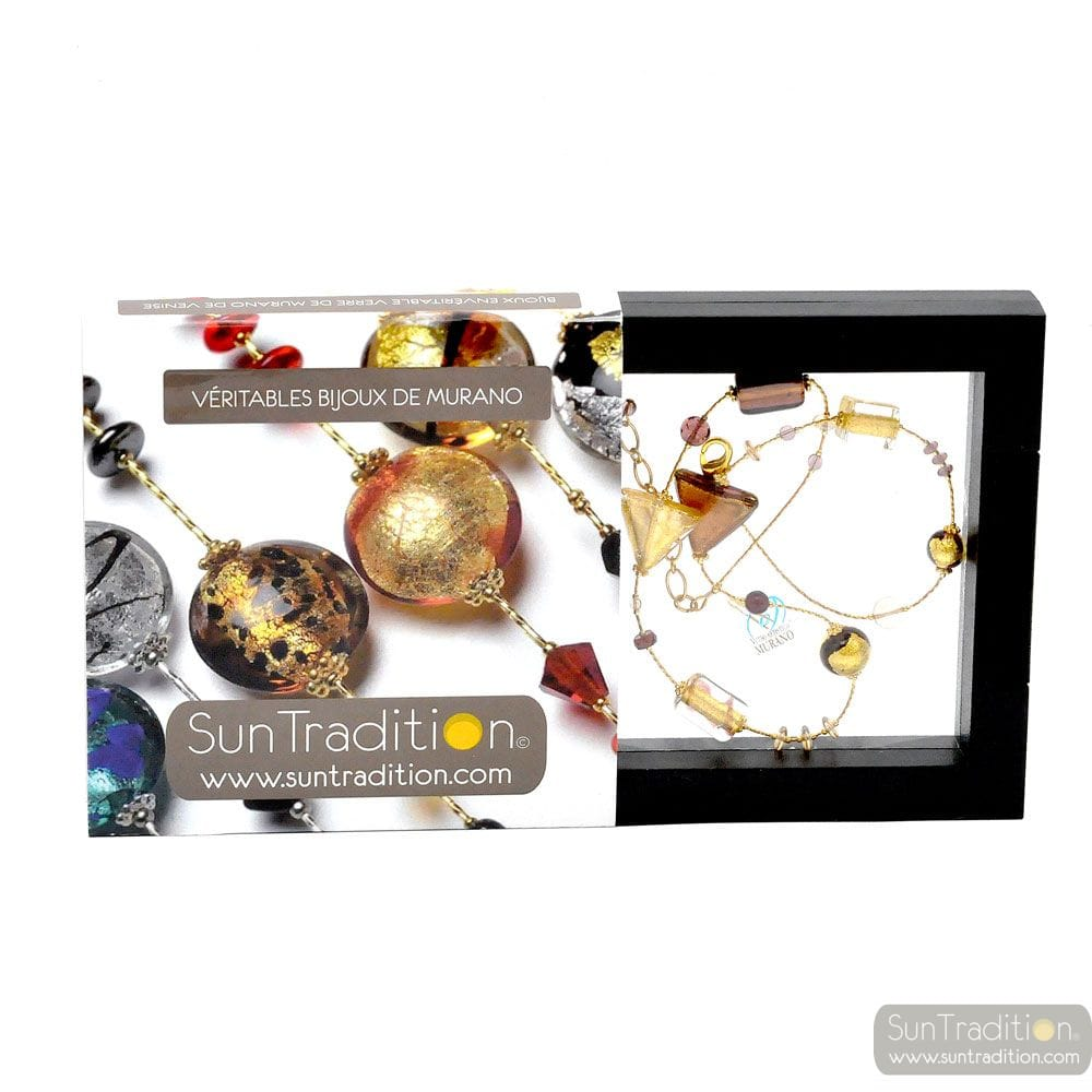 ASTEROIDE NECKLACE AMBER GOLD GENUINE MURANO GLASS