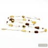 AMBER GOLD NECKLACE LONG GENUINE MURANO GLASS