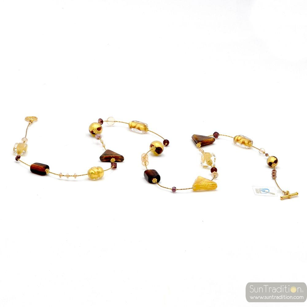 NECKLACE - GOLD NECKLACE LONG AMBER GOLD WOMAN FANCY
