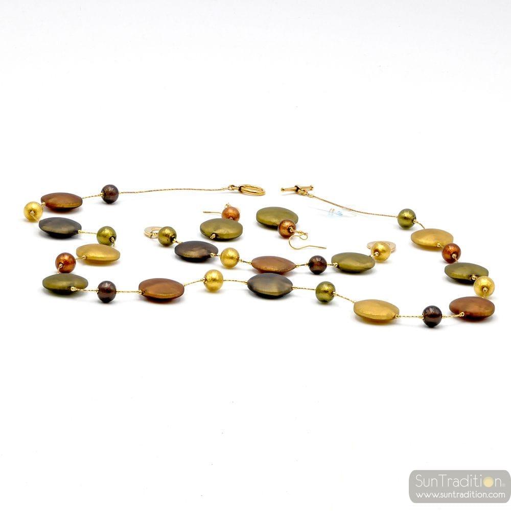 FRANCY SATIN GOLD LONG NECKLACE JEWELRY SET MURANO GLASS VENICE