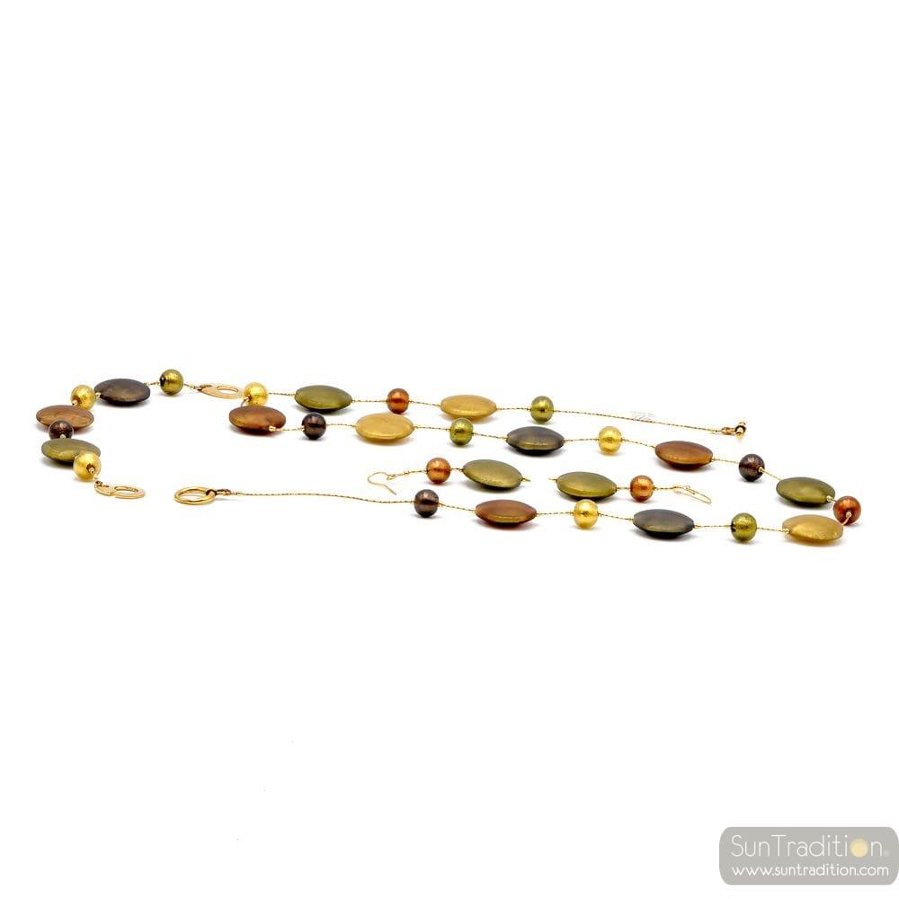 FRANCY SATIN GOLD JEWELRY SET GEGUINE MURANO GLASS VENICE