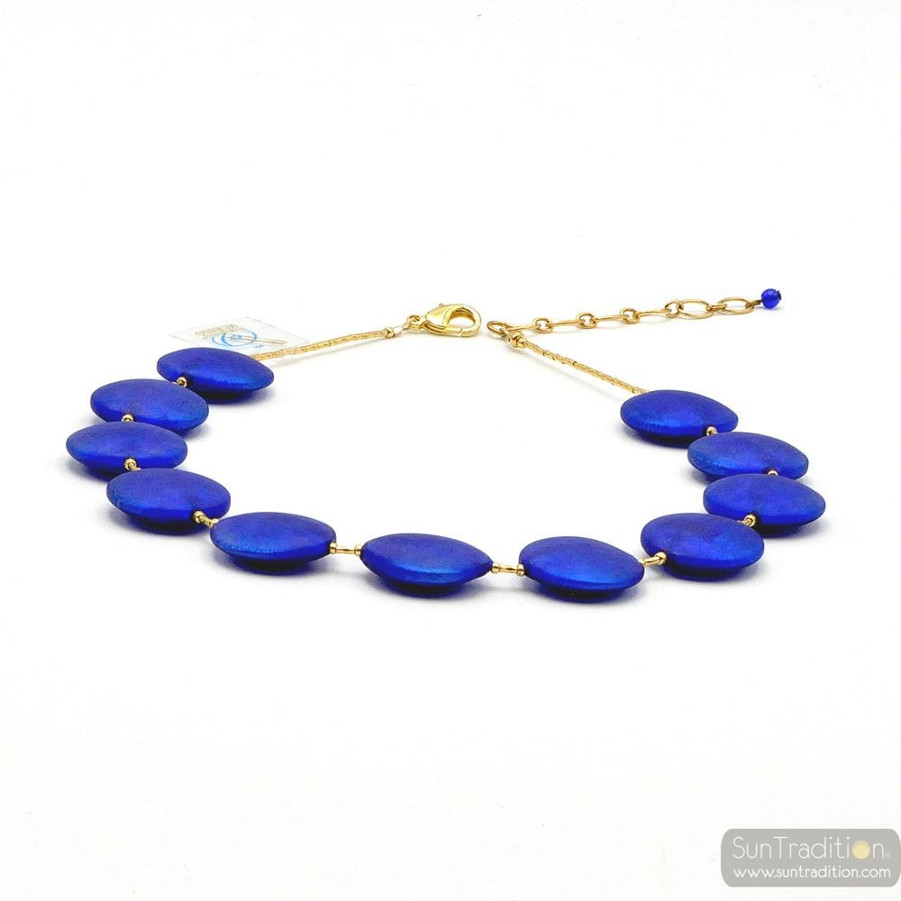 FRANCY SATIN BLUE - BLUE MURANO GLASS NECKLACE JEWEL GENUINE MURANO GLASS OF VENICE