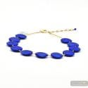FRrancy satin blue - Satin blue glass pellets beads Murano necklace genuine venitian jewel Italy