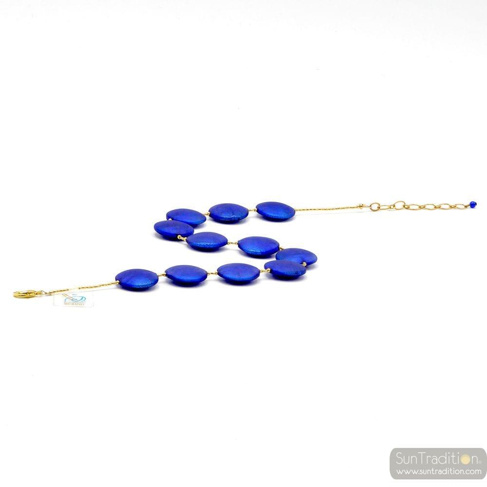 BLUE COLLAR JEWEL, GENUINE MURANO GLASS OF VENICE