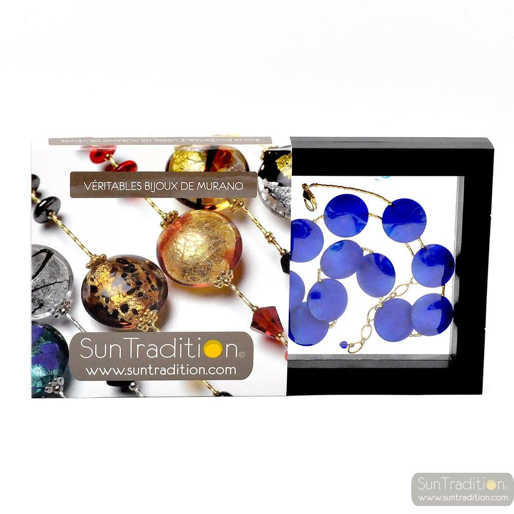 FRANCY BLUE SATIN COLLAR JEWEL, GENUINE MURANO GLASS OF VENICE