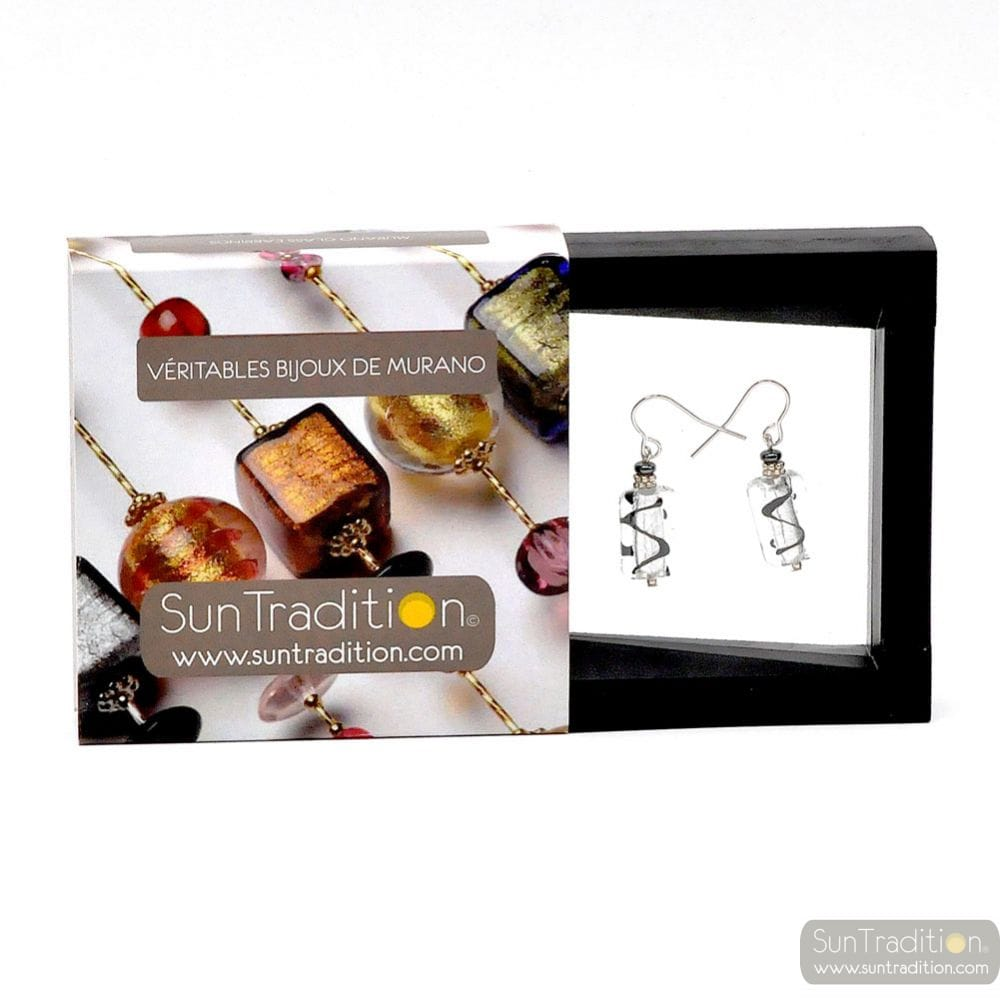 ASTEROIDE - EARRINGS BLACK AND SILVER GENUINE MURANO GLASS