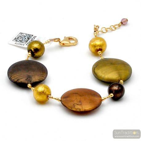 FRANCY GOLD SATIN GLASS MURANO BRACELET VENICE