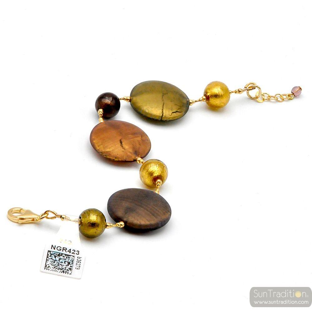 GOLD SATIN GLASS MURANO BRACELET VENICE