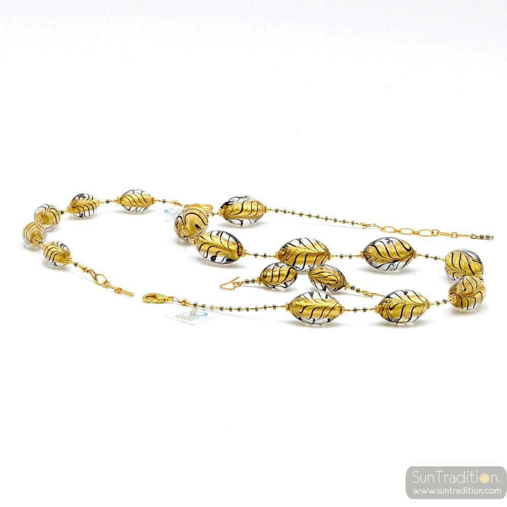 BLACK AND GOLD JEWELLRY SET GENUINE MURANO GLASS OF VENICE