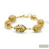 BLACK AND GOLD BRACELET GENUINE MURANO GLASS OF VENICE
