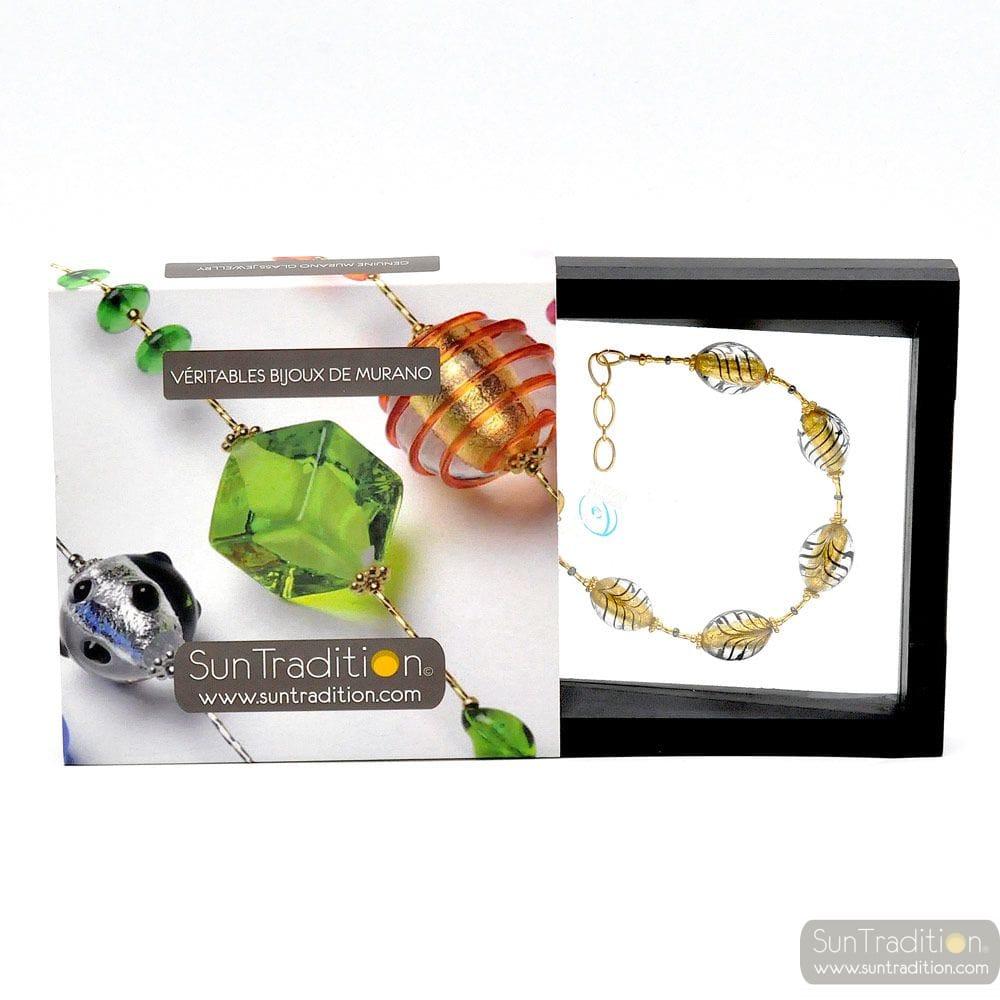OLIVETTO BLACK AND GOLD BRACELET GENUINE MURANO GLASS OF VENICE