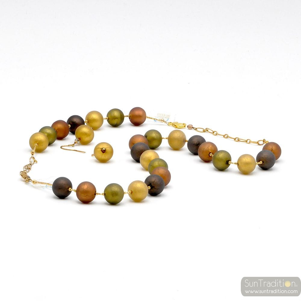 GOLD JEWELLRY SET SATIN OR IN REAL GLASS MURANO VENICE