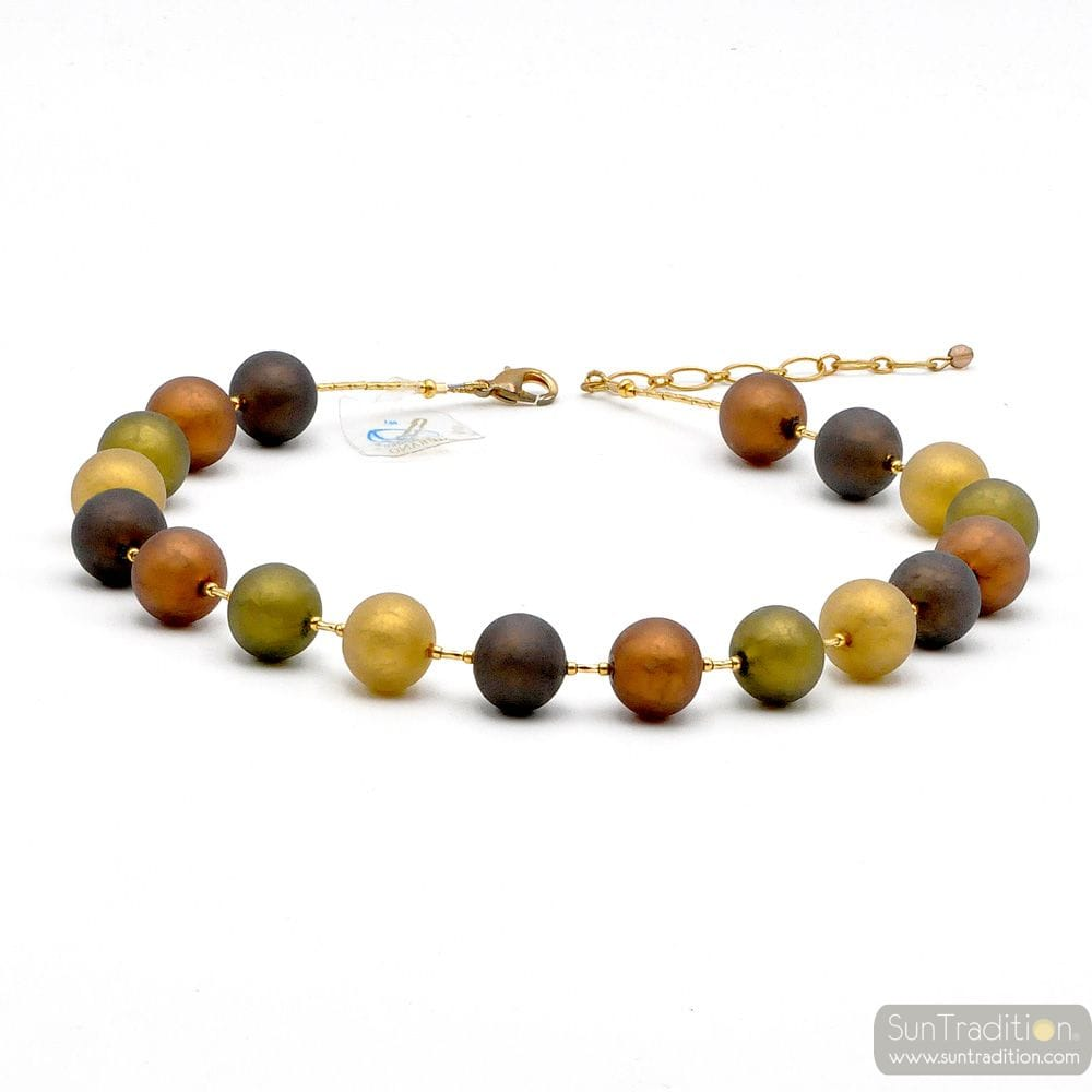 BALL SATIN - BROWN SATIN NECKLACE GENUINE MURANO GLASS
