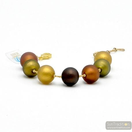 BALL GOLD SATIN GENUINE MURANO GLASS BRACELET FROM VENICE