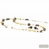 GOLD AND BROWN LONG JEWELRY SET IN REAL GLASS MURANO VENICE