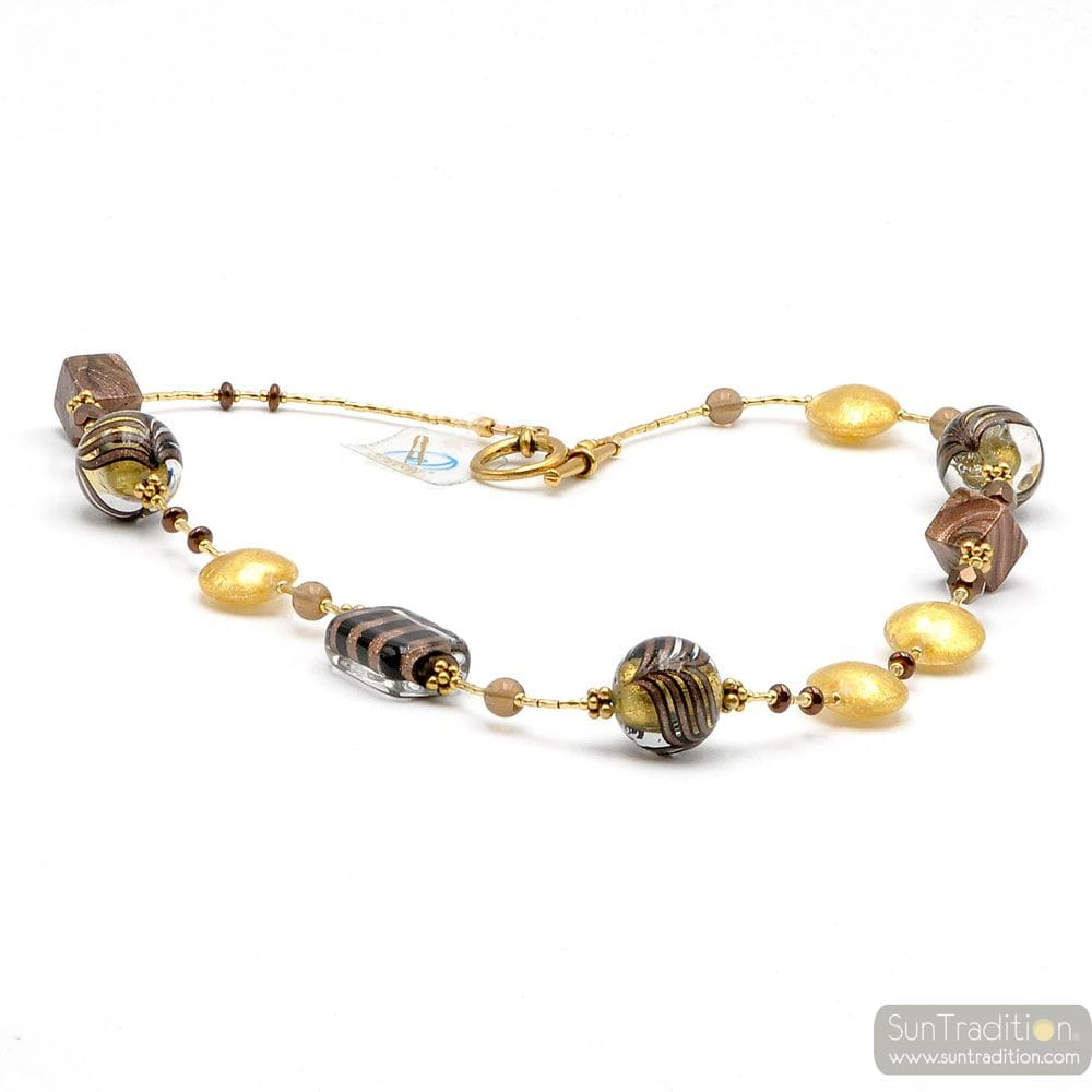 NECKLACE JEWELRY MURANO GLASS GOLD BARIOLE BROWN
