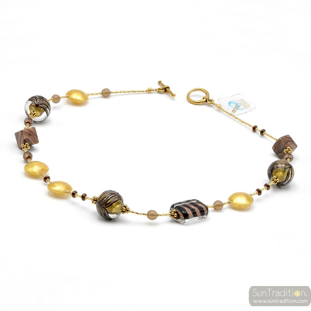 COLLIER MARRON OR BIJOU EN VERRE DE MURANO BARIOLE MARRON
