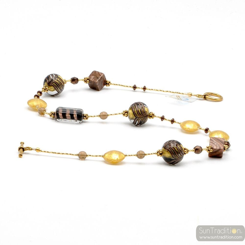 GOLD MURANO GLASS NECKLACE MESHED BROWN