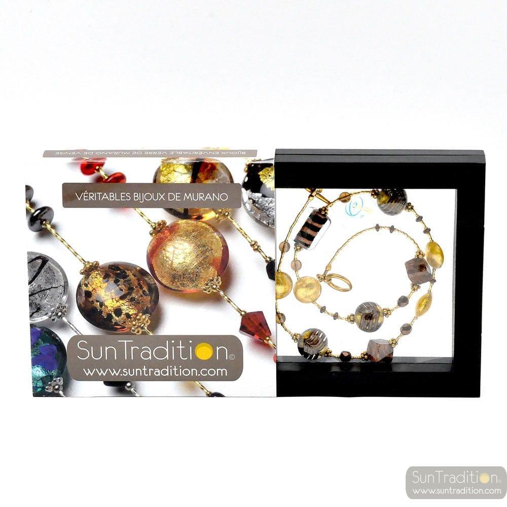 FENICIO GOLD NECKLACE JEWELRY, MURANO GLASS BARIOLE BROWN