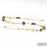 GOLD AND BROWN LONG NECKLACE MURANO COLORFUL GLASS BROWN