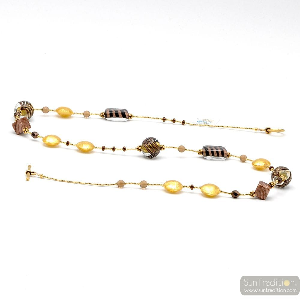NECKLACE LONG GOLD AND BROWN JEWEL IN MURANO GLASS BARIOLE BROWN