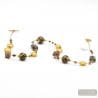 FENICIO OR - LONG GOLD NECKLACE MURANO COLORFUL GLASS BROWN