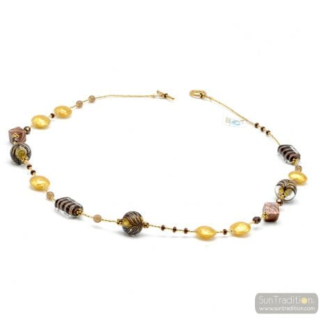 LONG GOLD NECKLACE MURANO COLORFUL GLASS BROWN
