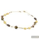 Fenicio gold long - Long gold and brown Murano glass beads necklace real jewel of Venice Italy