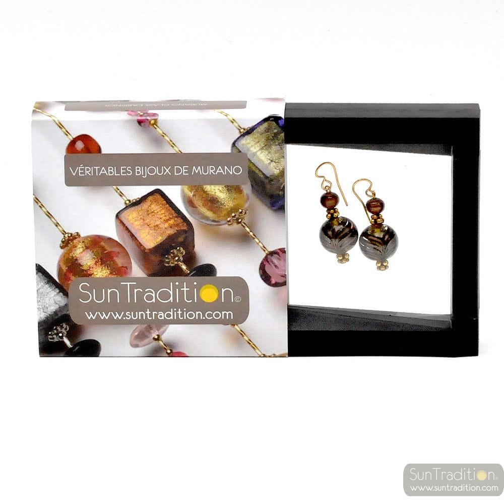 FENICIO GOLD EARRINGS GENUINE VENICE MURANO GLASS