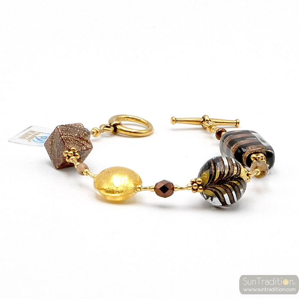 GOLD MURANO GLASS BRACELET GENUINE GLASS VENICE