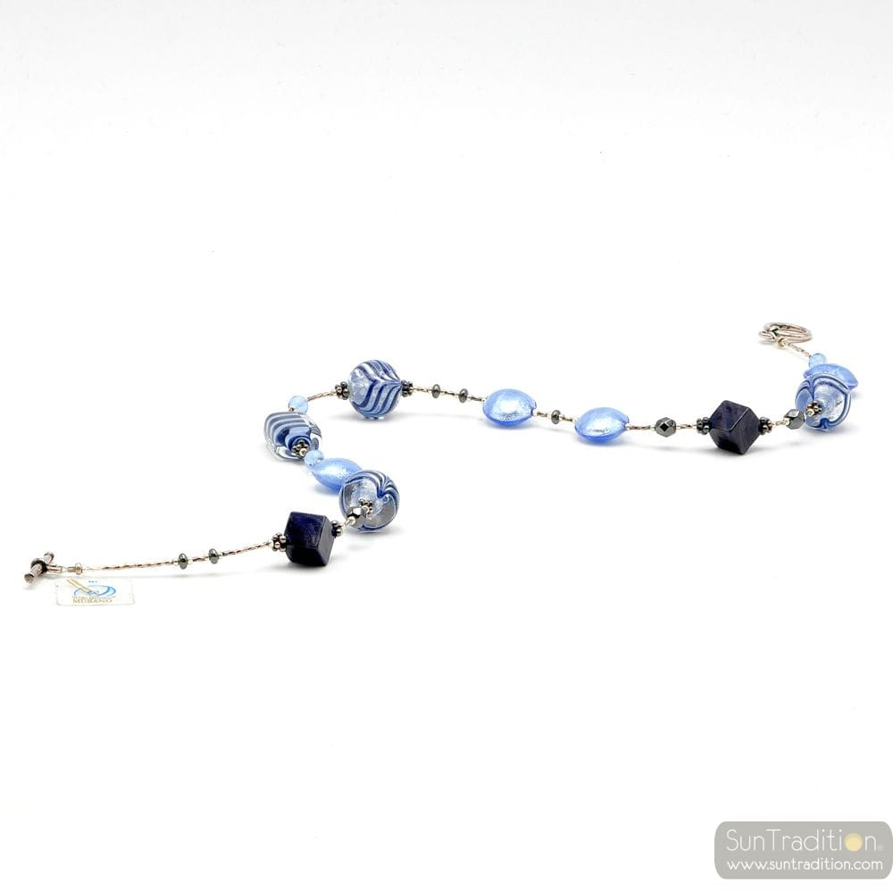 NECKLACE BLUE BEADS IN AUTHENTIC MURANO GLASS FROM VENICE