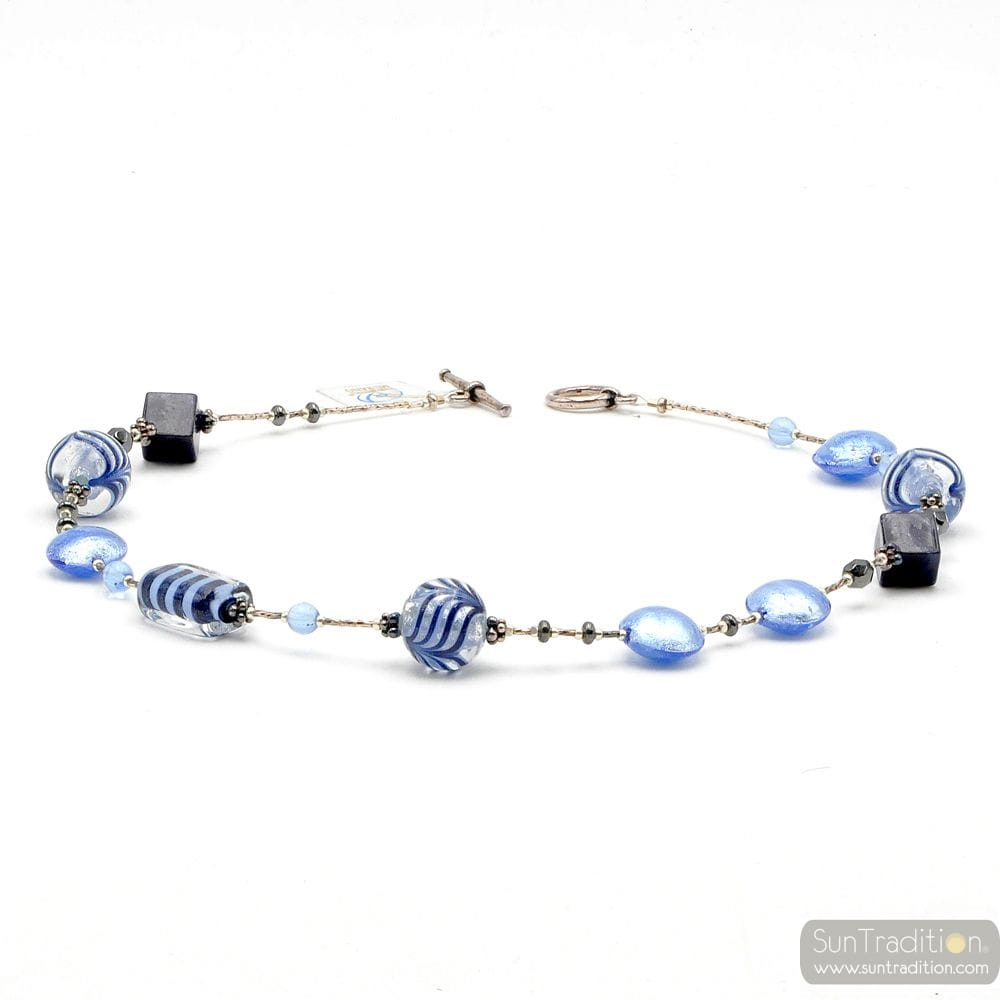 Fenicio blue - Blue Murano glass necklace real jewellry from Venice Italy