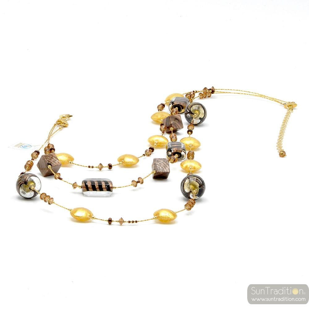NECKLACE GOLD LONG NECKLACE JEWELRY MURANO GLASS BARIOLE BROWN